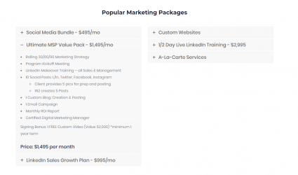 Popular Marketing Packages